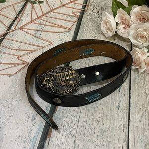 Vintage Hesston Rodeo leather belt buckle hood '78 national finals black western